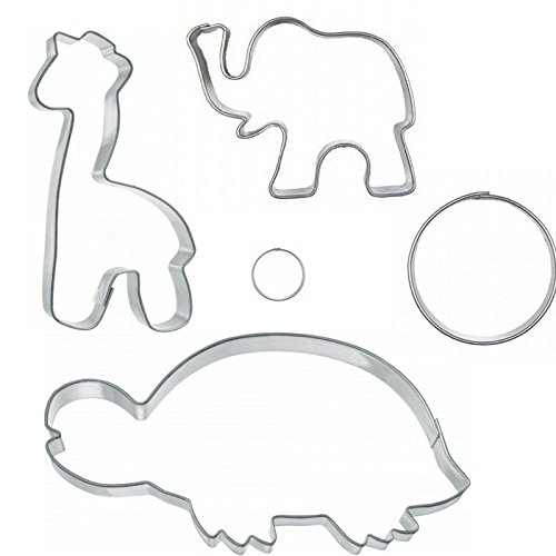 Eco Haus Living Premium Biscuit Cutter Tools - Stainless Steel Round Shape Pastry Cutter - 5 Pcs with Jungle Elephant Zoo Animal Cookie Cutters - Easy To Clean - Ideal For Fruit, Fondant, Dough, Bread