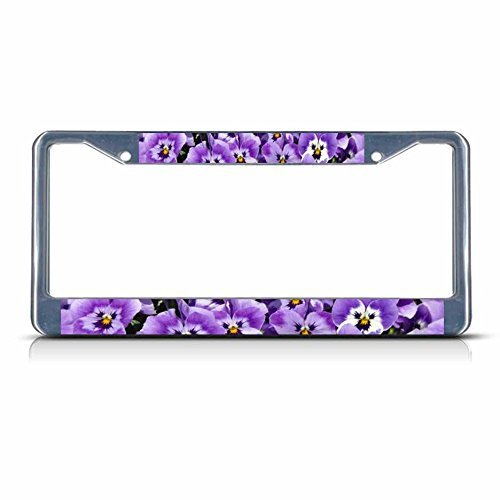 Pansy Flowers Chrome Metal License Plate Frame