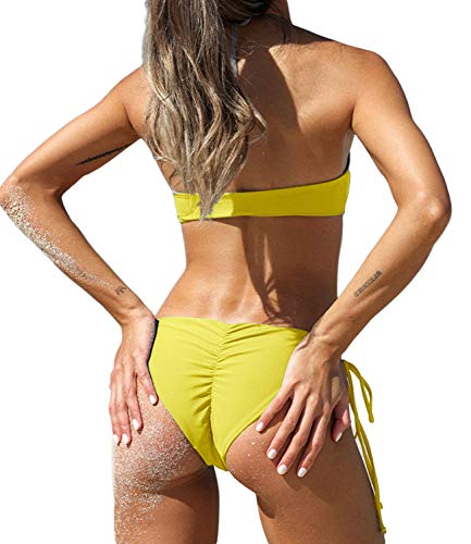 (KIWI RATA 2017 New Womens Swimwear Sexy Tie Side Sweet Heart Brazilian Bikini Bottom Hipster Swimsuit Beachwear Swimwear (L, Yellow))
