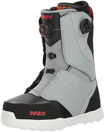 thirtytwo Lashed Double Boa '17 Snowboarding Boot, Grey/Black/Red, 10.5 (Thirty Lashed Mens Two)