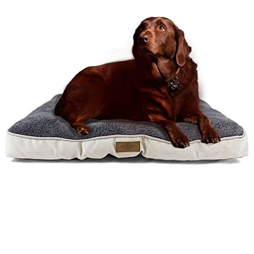 Plush Crate Mat By Cozy Cuddlerz Fleece Pet Mattress For Dogs And Cats Comfortable Gray Cushion Bed In 2 Sizes Washable Stylish Kennel Pad With Quilted Tricot Fabric And Nonslip Bottom