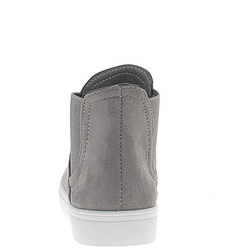 Zapatillas de deporte zapatos mujer gris terciopelo aspecto con blanco suela gruesa
