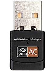 محوّل لاسلكي لشبكة USB واي فاي ثنائي النطاق، 600 ميجا بايت بالثانية 5 جيجاهرتز 802.11 AC