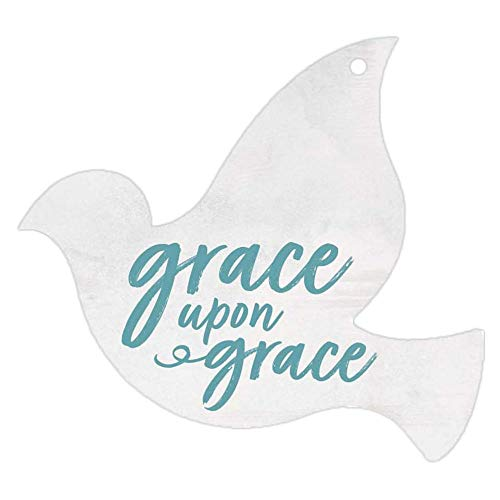 (P. Graham Dunn Grace Upon Grace Dove Pure White 3 x 3 Wood Hanging Gift Wrap Tag Charms Set of 5)