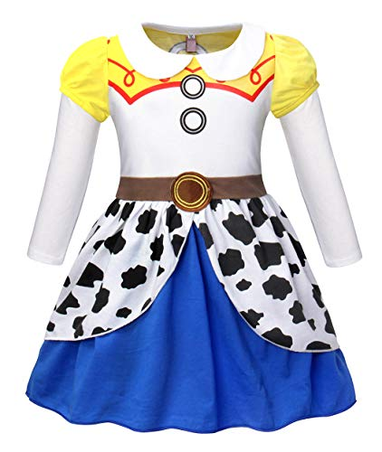 Jurebecia Girls Jessie Costume Dress Kids Jessie Halloween Costume Holiday Party Cosplay Outfits Size 6]()