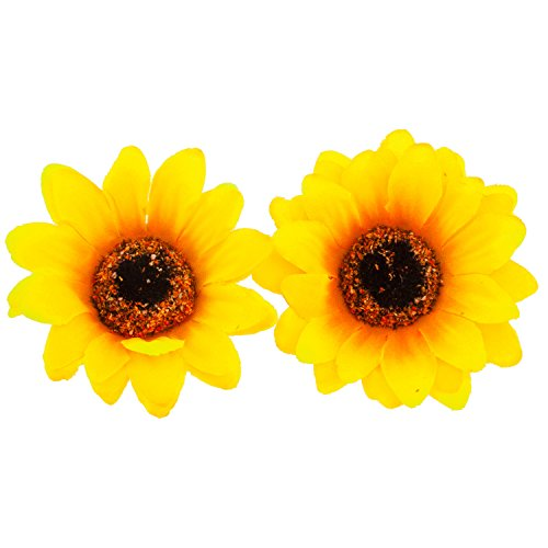 Lux Bow - Lux Accessories Sunflower Fabric Flower Hair Clip Set