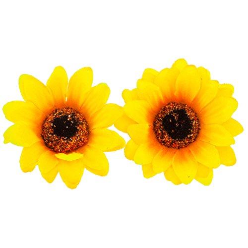 Lux Accessories Sunflower Fabric Flower Hair Clip Set