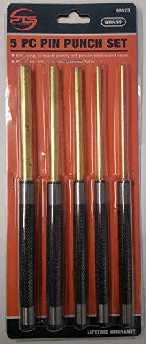 BRASS PIN PUNCH SET, 5PC, LONG DRIVE KNURLED HANDLES - GUNSMITH 1/8