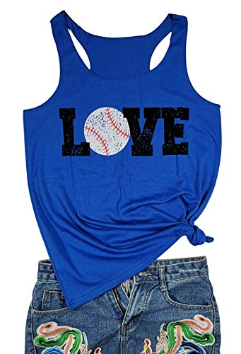 Love Baseball Mom Racerback Tank Tops Women Casual Summer Graphic Cute Sleeveless Shirts Tees (Small, Blue)