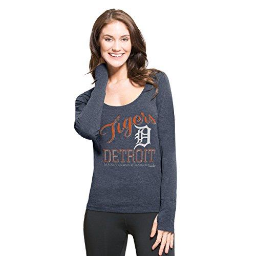 ('47 MLB Detroit Tigers Women's Dash Long Sleeve Tee, Medium, Shift Navy )