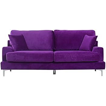 Bon Ultra Modern Plush Velvet Living Room Sofa (Purple)