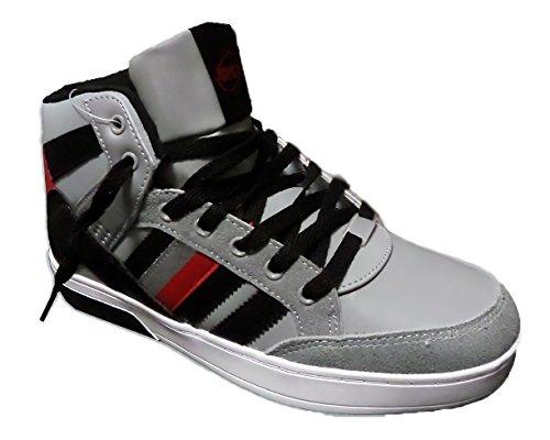 Scarpe sneaker uomo mod. DURBAN punta tonda scarpa da ginnastica. MEDIA WAVE store (Taglia 41, Grigio)