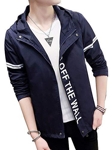 Moda Autunno Allentato Cappuccio Impermeabile Giacche Lettera Stampata Outwear Top Uomo Impermeabili Giacca Navyblue Con Giovane Da qFnf1aEqI