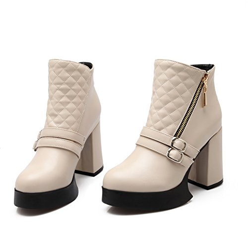 BalaMasa Ladies Platform Chunky Heels Buckle Microfiber Boots Beige upZHC80
