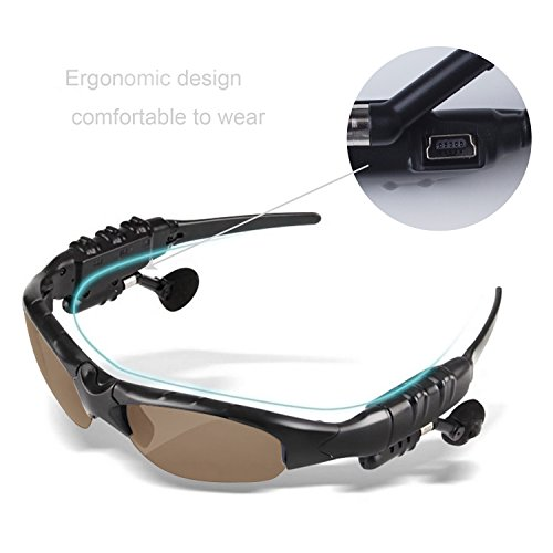 TechKen Sunglasses Headset Headphone Bluetooth Wireless Music Sunglasses Headsets for iPhone Samsung LG and Smart Phones PC - Bluetooth Sunglasses Iphone For