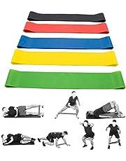 Longmeng Weerstandsbanden, elastische banden voor oefeningen met verschillende weerstandsniveaus [5 stuks] (500 mm)