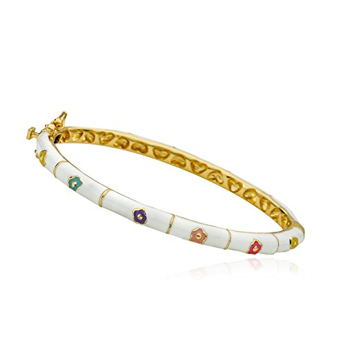 Little Miss Twin Stars Outfit Makers 14k Gold-Plated White Bangle With Multi Color Flowers & Gold Lines