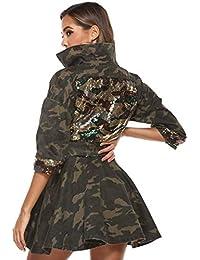 Women's Classic Casual Long Sleeve Camo Lightweight Zipper Outerwear Short Jacket