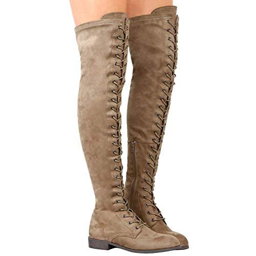 Anokar Knee High Boots for Women Flat Suede Over Knee Boots Ladies Thigh Boots Long High Lace up Winter Shoes Fashion Sexy Length 55Cm Black Brown Green 35-43 Khaki