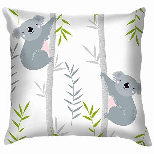 Koalas On Trees Cartoon Animals Wildlife Koala Cotton Linen Home Decorative Throw Pillow Case Cushion Cover for Sofa Couch 26X26 Inch -