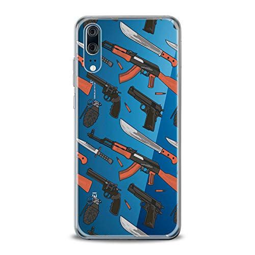 Lex Altern TPU Case for Honor 10 Lite 9 Magic 2 9i V9 8A 8 7X 6A Play Weapons Slim fit Guns Flexible Male Smooth Handgun Gift Design Machine Gun Cover Lightweight Boy Print Weaponary Clear Soft Man
