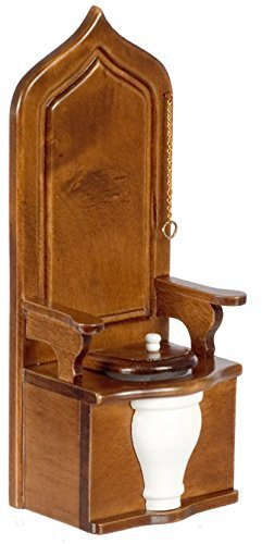 Wooden Dollhouse Miniature Throne Toilet 1:12 by Town Square - Town Square Stores