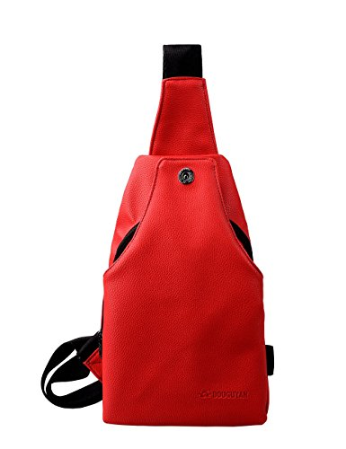 Douguyan Leather Unbalance Hiking Backpack Sling Bag Pack Cross Body Shoulder Chest Sport Rucksack for Men and Women 215 Red