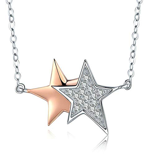 Overlay Gold Plated - Zhiming S925 Sterling Silver Ladies ' Fashion Gold Plated Star Overlay Necklace