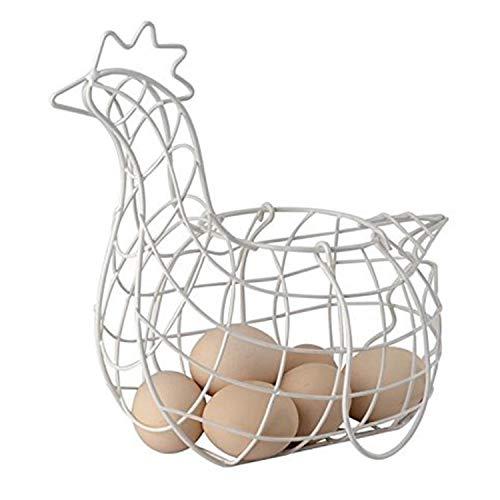 Metal Wire Farmhouse Chicken Egg Storage Basket with Handles (11