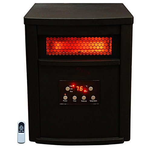 Lifesmart ZCHT1071US 8-Element Infrared Electric Portable Heater, W/RC Black (8 Element Infrared Quartz Heater)