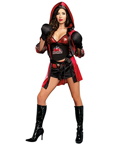 [Dreamgirl 9501 What A Knockout Costume - X-Large - Red/Black] (Knock Out Costumes)