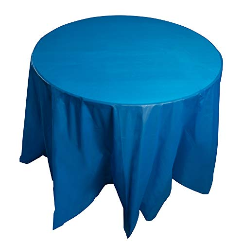 Juvale 12-Pack Blue Plastic Tablecloth - Round 84-Inch