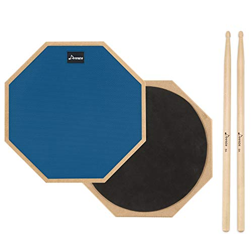 (Donner 12 Inches Drum Practice Pad 2-Sided Silent Drum Pad Set Blue With Drum Sticks)