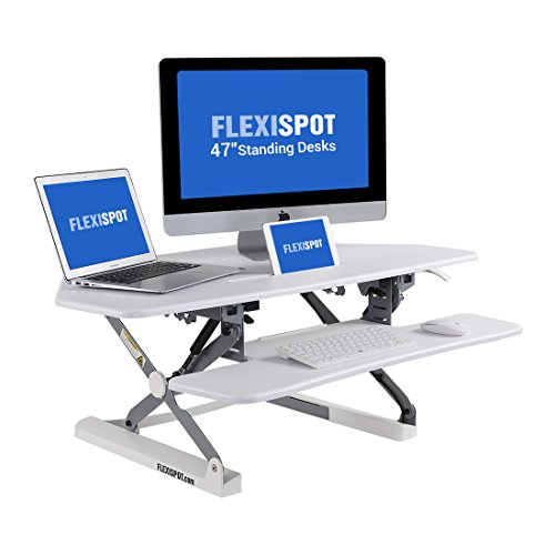 FlexiSpot M4W Adjustable Standing Desk - 41'' Cubicles Corner Desk Riser computer riser with Removable Keyboard Tray (White) by FLEXISPOT