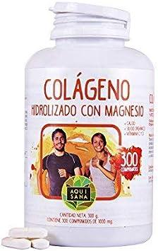 Colágeno Con Magnesio | Colágeno Hidrolizado Con Magnesio y Calcio | Colágeno con vitamina C y vitamina D para ayudar a la energía del día a día | 300 Comprimidos - Aquisana: