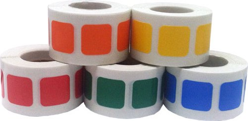 """Free 3/4"""" Color Coding Labels - Bulk Pack - .75 Square Stickers - One Roll Each Red, Yellow, Green, Blue, Orange - 500 Per Color - 2,500 Total Stickers"""