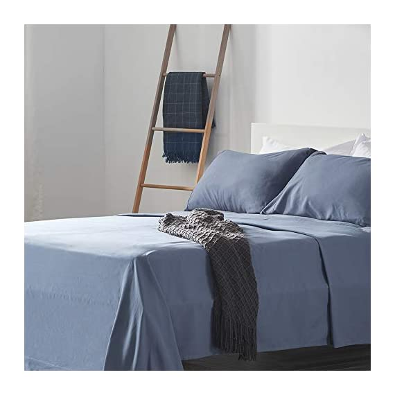 SLEEP ZONE Bed Sheet Sets Cozy Brushed Microfiber Soft Wrinkle Free Fade Resistant with 16 inch Deep Pocket Easy Care Sheets 4 PC, Flint Blue,Full - COOLING & BREATHABLE: The sheet sets designed with new NANOTEX Coolest Comfort Technology. Fabrics treated with advanced moisture wicking system dries 100% faster than cotton, actually balance your body temperature, pulling moisture away from your skin out to the fabric's surface, moisture can more easily evaporate and leaving you a cooler, drier and more comfortable sleeping surface, and leaving you feeling refreshed and rejuvenated. It will keep you cool in the summer and warm in the winter. SOFT & COMFORTABLE: Our coolest comfort Technology offers unbelievably soft fabrics than others, enhanced breathability and advanced temperature regulation to keep you from waking up hot, sweaty and uncomfortable. It's made of premium microfiber yarns and double brushed on both sides for ultimate softness and comfort. Also with the Nanotex cooling technology it gives superior comfort against your skin without extra heat and sweat. DEEP POCKET & PRECISION FIT: Deep pocket fits mattresses up to 16 inch deep, perfect for oversized mattresses. Full size include 4 piece bed sheet sets: 1 Flat Sheet 96x81 inch, 1 Fitted Sheet 75x54 inch, 2 Pillow Case 20x30 inch. Blend of technique and elegance, our linens are designed to offer you a unique and sophisticated sleeping experience. Hypoallergenic: suitable for all skin types. Shrink and wrinkle resistant. Machine wash cold, do not use bleach, tumble dry low. - sheet-sets, bedroom-sheets-comforters, bedroom - 41H FstBG5L. SS570  -