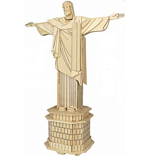 - WISDOMTOY 3D Wooden Simulation Figure Statue Jigsaw Puzzle DIY Model Toy for Kids and Adults, Cristo Redentor