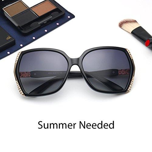 Oversized Polarized Sunglasses for Women Polarized Vintage Luxury Eyewear (Black/Grey) by BAVIRON (Image #2)