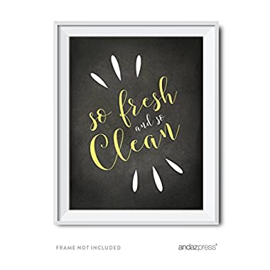 Andaz Press Laundry Room Wall Art Decor, Chalkboard Print, So Fresh and So Clean, 1-Pack, Poster Signs Unframed