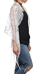 White Mesh With Sequin Metallic Shawl with Fringe