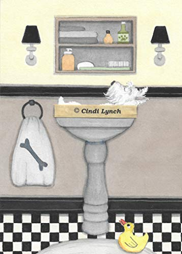 (Lynch West Highland Terrier (Westie) in a Sink Folk Art Print)