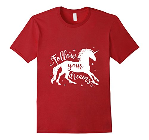 Cranberry Lovers Gift (Mens Unicorn Shirt Follow Your Dream Tee Gift for Unicorns Lovers XL Cranberry)
