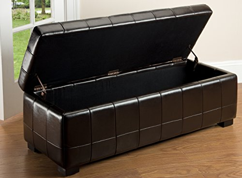 (Safavieh Hudson Collection NoLita Brown Leather Large Storage Bench)