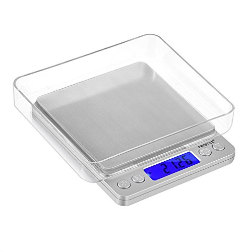 Proster Digital Food Scale 500g/0.01g Portable Kitchen Scale Pocket Stainless Steel Precision Scale for Cooking Jewelry Weighing Durable Scale 2 Trays 6 Units Tare Function