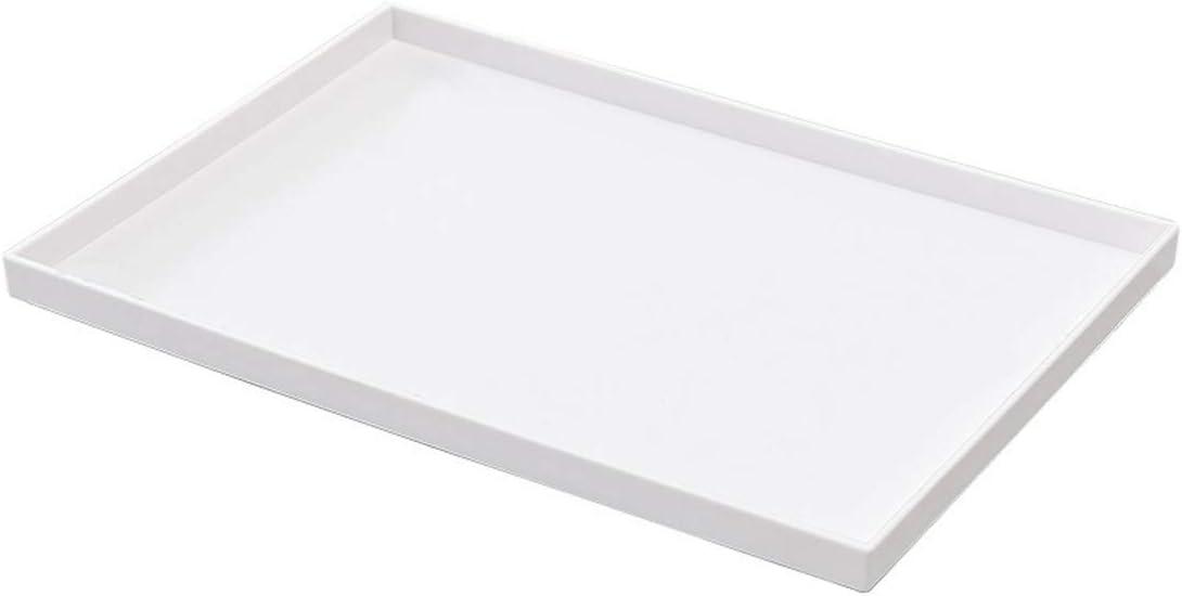 ALVITI Plastic Rectangular Serving Tray 14 x 9.6 inch | Breakage Resistance, Endless Usage for Kitchen, Living Room, Bedroom, Bathroom, Office, Café Tea Shop, Bakery, Restaurant, Indoor Plants (White)