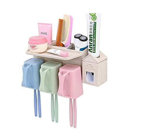 Environmental Phillips Toilet (BEBEGO Toothbrush Holder Toothpaste Squeezer Kit Wall Mount 6 Toothbrush Holder 3 Cups with Automatic Toothpaste Dispenser Free Punching (6 brush position))
