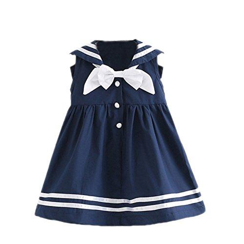 1950s Preppy (Haiyitian Dress NEW Girls Brand Summer Dresses Preppy Style Bowed Sleeveless Design Kids Dress For Girls)