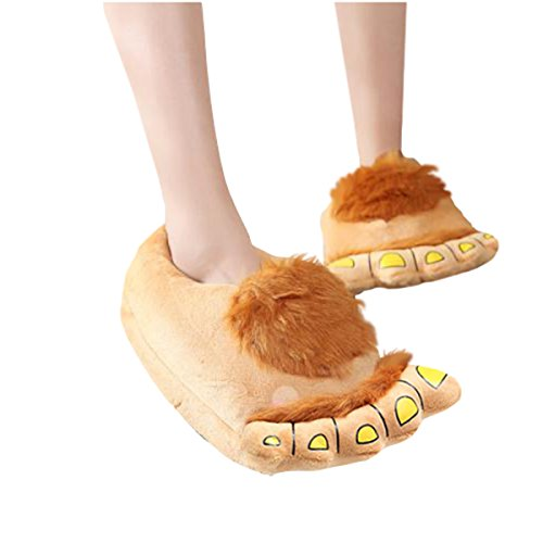 CuteOn Cartoon Plush Monster Home Slippers Warm Winter Slippers for Adults Men Women Yellow F1lkcyEil9