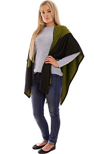 MontyQ Cape Occasionnel Poncho Châle Taille Unique Pour Femme Noir Vert